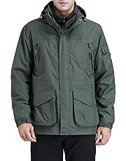 CAMEL CROWN Men's Waterproof Rain Jacket, 3 in 1 Wind Jacket for Men, Detachable Fleece Inner Windbreaker Warm Outdoor Coat
