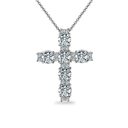 GemStar USA Sterling Silver Round-Cut Large Cross Necklace Made with Swarovski Zirconia