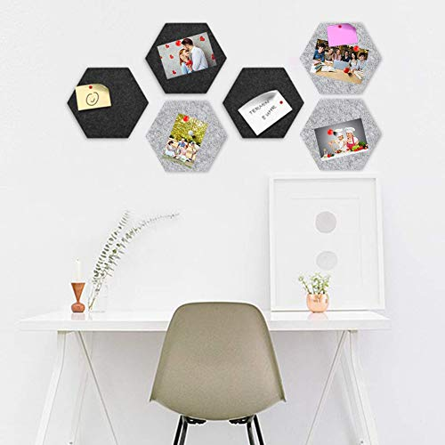 SallyFashion Felt Memo Board, 6PCS Hexagon Felt Boards Felt Tiles Boards Notice Bulletin Boards with Push Pins and Adhesive Tapes for Home Office DIY Photos Memo Display Wall Decor