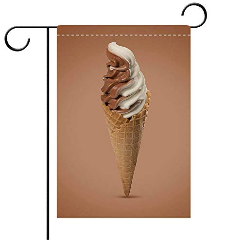 - BEICICI Double Sided Premium Garden Flag Chocolate and Vanilla Soft Serve ice Cream in a Wafer Cone Decorative Deck, Patio, Porch, Balcony Backyard, Garden or Lawn