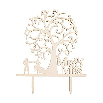 "BCP 5.5x6.5"" Light Brown Color Delicate Rustic Wooden Mr and Mrs Bride and Groom Silhouette Tree Wedding Cake Topper"
