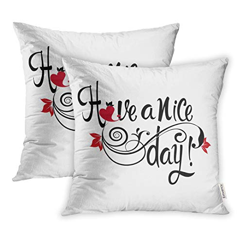 Emvency Throw Pillow Covers Red Black Have Nice Day Calligraphic Phrase Vintage Text Floral Ornaments Swirls Love Heart Flowers Leaves Lines Desire Square 18x18 inch Pillowcases Case Cover Cases ()