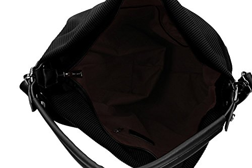 Borsa donna a spalla con tracolla PIERRE CARDIN nero con apertura zip VN1836
