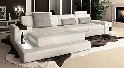 Piel Sofá rinconera Color Blanco/Gris esquina Couch L Forma ...