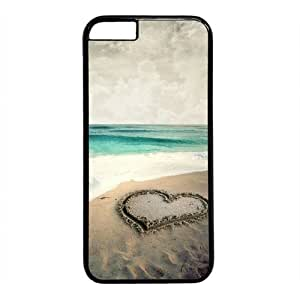 """Beach Heart Theme Case for iPhone 6 Plus (5.5"""") PC Material Black"""