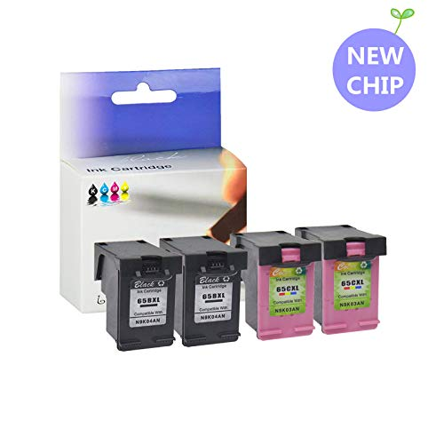 KCMYTONER Remanufactured Ink Cartridge Replacement for 65 65XL N9K04AN N9K03AN with Ink Level Compatible with Deskjet 3755 3720 3721 3730 3732 3752 3758 (2 Black 2 Tri-Color)