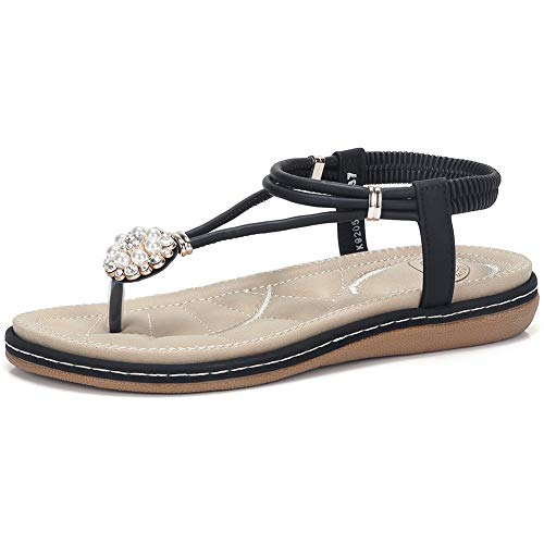 CAMEL CROWN Women's T Strap Flat Sandals Comfortable Thong Sandals with Pearl Buckle Jeweled Slingback Sandals with Low Wedge Black