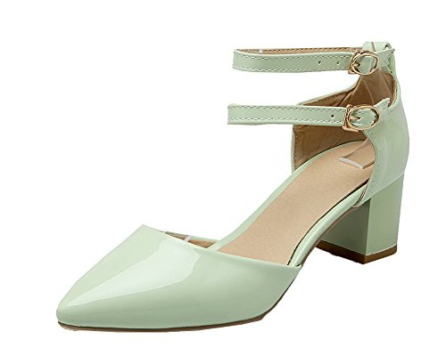 Solid Patent Toe Kitten Closed Heels WeenFashion Women's Green Sandals Buckle Leather A7xq6xFTn