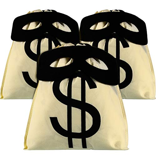 SATINIOR 3 Pieces Canvas Money Bag Pouch and 3 Pieces Halloween Black Eye Masks for $<!--$8.99-->