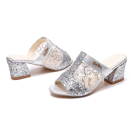 de plataforma moda Cloud Casual Lady hueco Oro nueva sandalias Plateado tacón cuña brillante hilo Girl mujeres chanclas P7wqX1