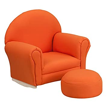 Flash Furniture Kids Orange Fabric Rocker Chair and Footrest  sc 1 st  Amazon.com : chair and footrest - Cheerinfomania.Com