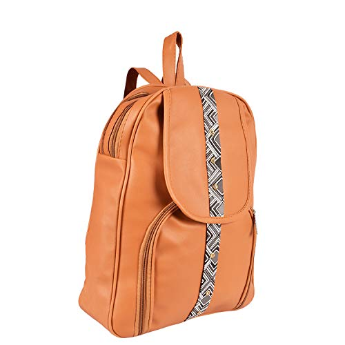 Purple Crane 15 Litres Casual Backpack  fashionbag_flap_design_line_tan_Purple  amp; Tan
