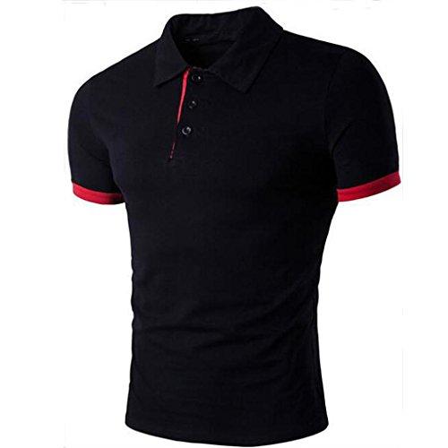 Sumen Teen Boys Polo Shirts, Mens Slim-Fit Cotton Tops Formal Blouse Turn-Down Collar Shirts (L, Black)