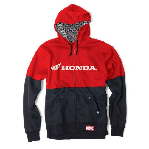 Factory Effex 15 88360 Honda Double Hooded Zip Up Sweatshirt  Black Red  Medium