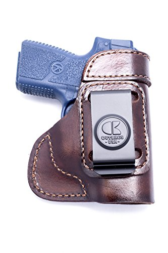 OutBags USA LS3PM9 (BROWN-RIGHT) Full Grain Heavy Leather IWB Conceal Carry Gun Holster for Kahr PM9 9mm. Handcrafted in USA.