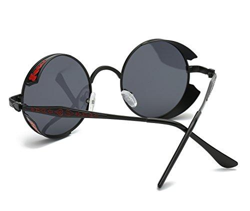 círculo Retro estilo de hombres metálico sol Negro para inspirado Panda polarizadas Steampunk gafas Hat redondo f5qzwXSx