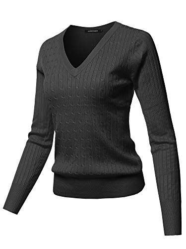 Solid V-Neck Long Sleeve Viscose Nylon Cable Knit Sweater Top Black S