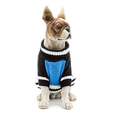 Scheppend Pet Cats Turtleneck Jumper Sweaters Pullover Tops Dogs Cozy Holiday Winter Sweater, Blue Extra Large