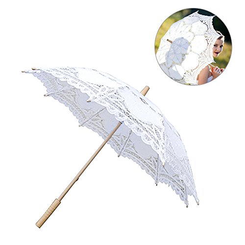 European Style Cutout Wedding Umbrella Handmade Lace Parasol Umbrella Custom-made Gift Umbrella (White) by Jannyshop