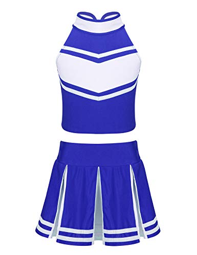 Cheerleading Uniforms For Halloween (Alvivi Kids Girls' Sleeveless Cheer Leader Costume Team Uniform School Cheerleading Fancy Dress up Outfit Blue&White)