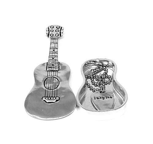 Basic Spirit Pewter Guitar Wish Box with Guitar Pick Charm 4 1/2