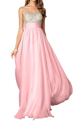 Lang Promkleid Festkleid Chiffon Elegant A Rosa Rundkragen amp;Tuell Damen Abendkleid Ivydressing Linie Steine zYBvq