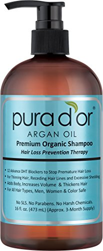 PURA D OR Hair Loss Prevention Premium Organic Argan Oil Shampoo (Blue Label),  16 Fluid Ounce
