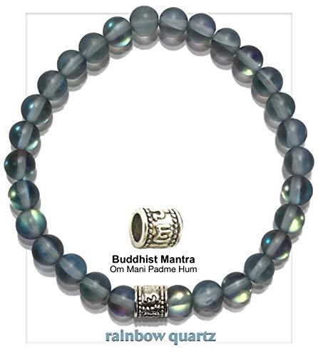 Rainbow Quartz | BUDDHIST MANTRA | Om Mani Padme Hum Prayer Wheel | Meditation Self-Care Wellness Wristband | Zen Yoga Spiritual Jewelry (7)