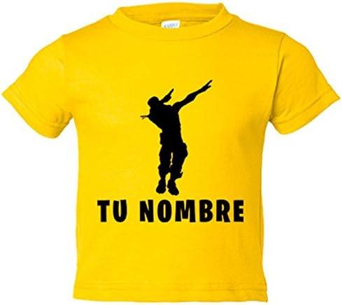Camiseta niño pose Dab personalizable con nombre - Amarillo, 3-4 años: Amazon.es: Bebé