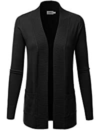 Women's Open Front Pockets Knit Long Sleeve Sweater Cardigan(S~3XL)