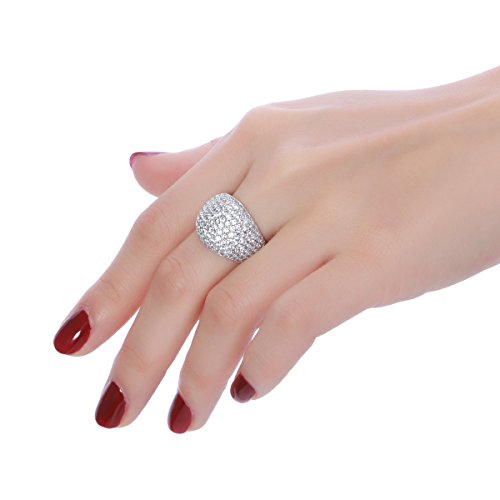 White Diamond Accent Dome Ring - Cluster Cubic Zirconia Paved Statement Wide Bands Size 5-11 by Hiyong (Image #1)