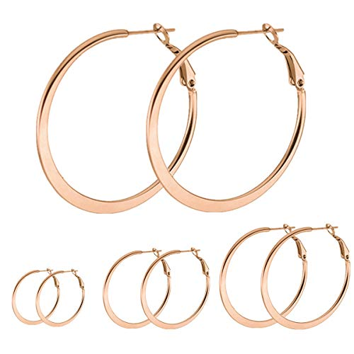 (Calors Vitton 4 Pairs a Set 18K Rose Gold Plated Stainless Steel Flattened Hoop Earrings for Women 30-60MM Rose Gold 07 )