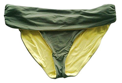 BCBG MAX AZRIA Women's Reversible Bali Bikini Bottom Large Lemongrass Combo ()