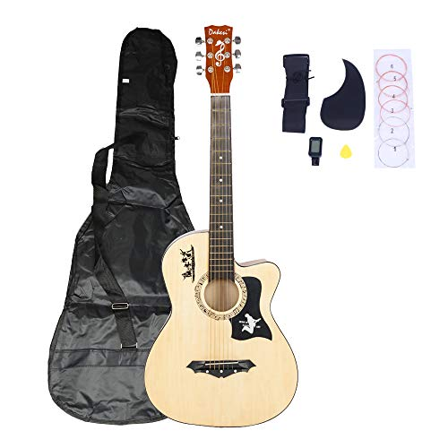 LAGRIMA 38″ Beginner Acoustic Guitar with Guitar Picks String LCD Tuner Pickguard Set and Guitar Bag, Basswood Guitar for Kids Adult, Natural