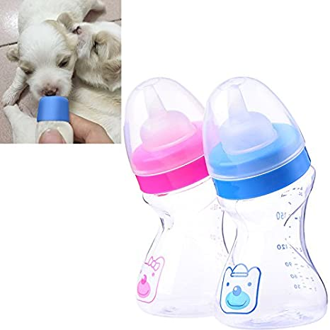 180ML 1pcs Silicon Nibble Feeder Milk Bottles Feeding Nursery Drinking Pacifier Bottle with Brush for Small Medium Kitten Cat or Puppy Dog (Random ...