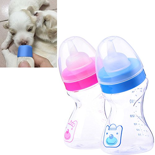 Pet Milk Nursing Care Bottle Kit Dog Cat Feeding Bottle With Silicone Nipple Brush For Kittens Puppies & Small Animals 180ml Random Delivery