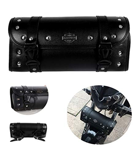FENJAR Motorcycle Fork Bag Tool Bag PU Leather Handlebar Saddle Bag compatible Harley Yamaha Honda Kawasaki Suzuki Ducati KTM With 2 (Harley Leather Bags)