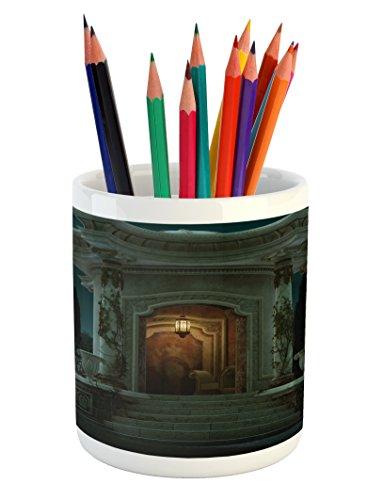 Gothic Pencil Pen Holder By Ambesonne  Roman Pavilion Lantern Ivy Pillars Dome Medieval Architecture Mystic Theme  Printed Ceramic Pencil Pen Holder For Desk Office Accessory  Petrol Blue Orange