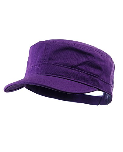 NYFASHION101 Fashionable Solid Color Unisex Adjustable Strap Cadet Cap, Dark Purple ()