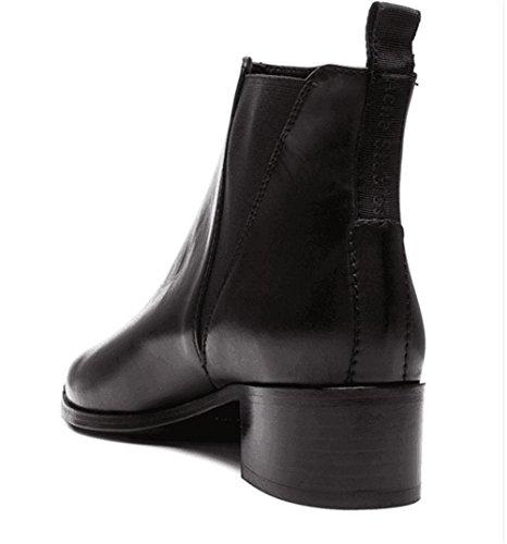 Pointue Femmes Partie Pointe Bottes NVXIE Cuir 3 de Chaussures Martin Automne EUR35UK3 Véritable Appartements en Cuir Travail Hiver Sxxvqfd