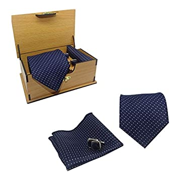 Luxeis Men Premium cotton silk Neck Tie and Pocket Square with Cufflink Combo Gift Set in wooden Box(Navy Blue, Free Size)