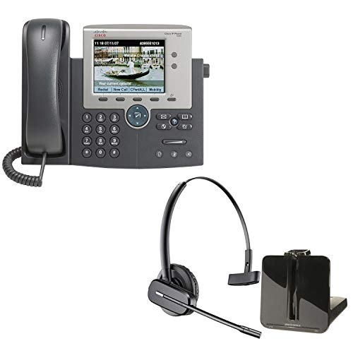 Cisco 7945G Unified IP Phone + Plantronics CS540 Wireless Headset System Office IP Phone and Headset Bundle