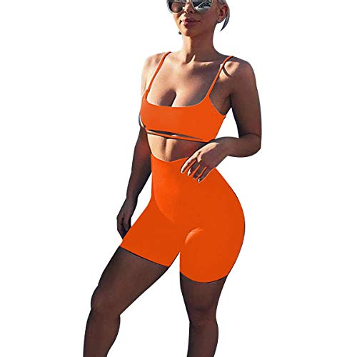 LUFENG Women's Suit Two Pieces Set Sexy Sleeveless Strapless Crop Top and Shorts Set (M, Orange) ()