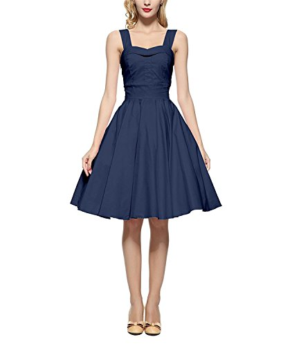 [Pedrorton Fashion 60s Vintage Cocktail Swing Rockabilly Ball Gown Dress Navyblue 2XL] (60s Dress Up Ideas)