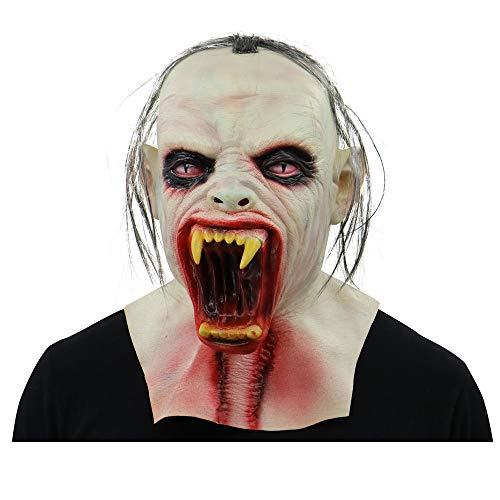 Matoen Scary Zombie Full Head Face Mask Halloween Horror Cosplay Costume (B, White)