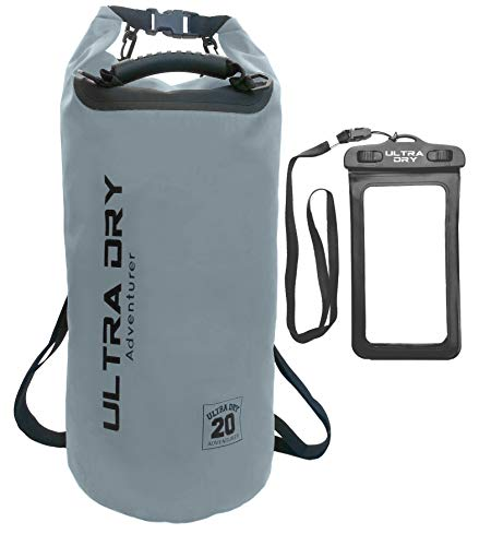 Premium Waterproof Bag, Sack with Phone Dry Bag and Long Adjustable Shoulder Strap Included, Perfect for Kayaking/Boating/Canoeing/Fishing/Rafting/Swimming/Camping (Gray, 20 L)