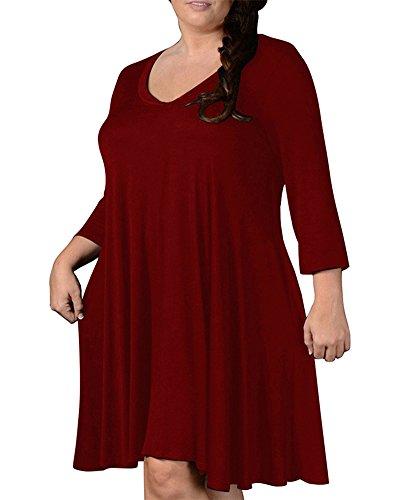 Talla Manga Casual Larga Sólido Mujer Vino Color Vestido Rojo Fiesta Suelto Grande Noche EwYSwqI