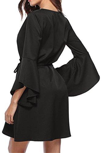 Cromoncent Femmes Évasées Ceinture À Nouer Manchon Élégant Balançoire V-cou Robe À Plis Noir