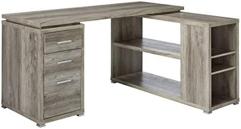 Contemporary L-Shape Desk in Gray Finish
