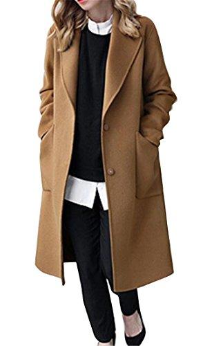 (WAWAYA Womens Pockets Loose Plus Size Winter Wool Blend Long Trench Pea Coat Overcoat Camel 4XL)